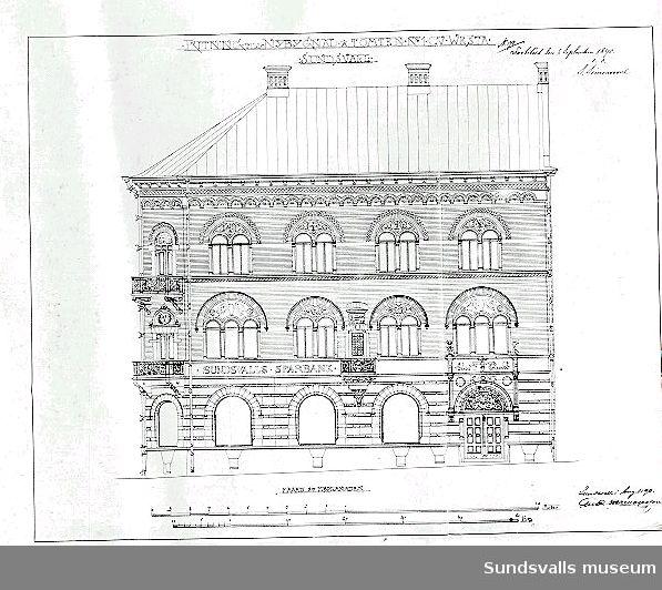 Fasadritning för Tryckeribolagets hus, Vesta 2, Rådhusgatan 19. Arkitekter (fasaderna): Appelberg & Gyllencreutz.