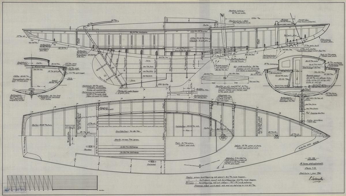 Konstruktionsritning i profil, plan och sektion