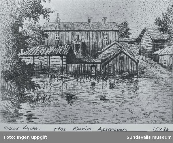 Tuschteckning, föreställande Sallanderska huset på Västermalm, av Oskar Lycke (1877-1927).
