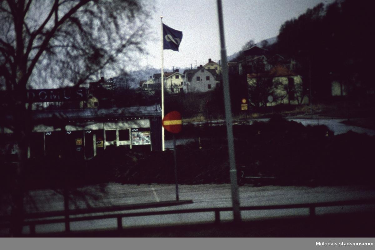 Domus barack vid Nya Torget i Mölndal, 1970-tal.