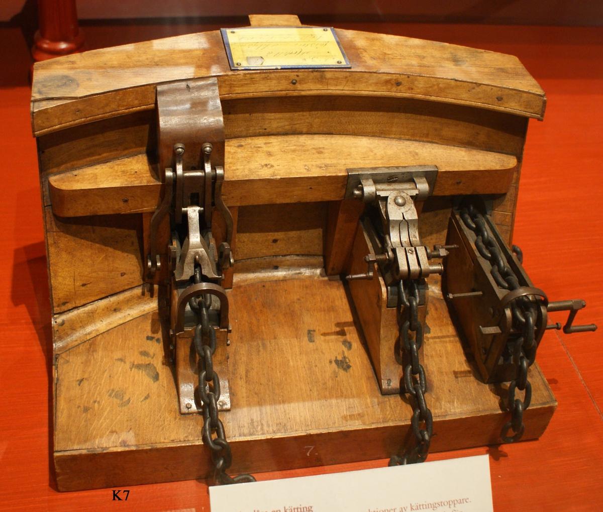 Modell av förstäv med tre olika system med kättingstoppare placerade bredvid varandra. Modellen tillverkad av trä, kättingstopparna, kättinglås, delvis av järn. Kättingarna är sekundära. Fernissad.