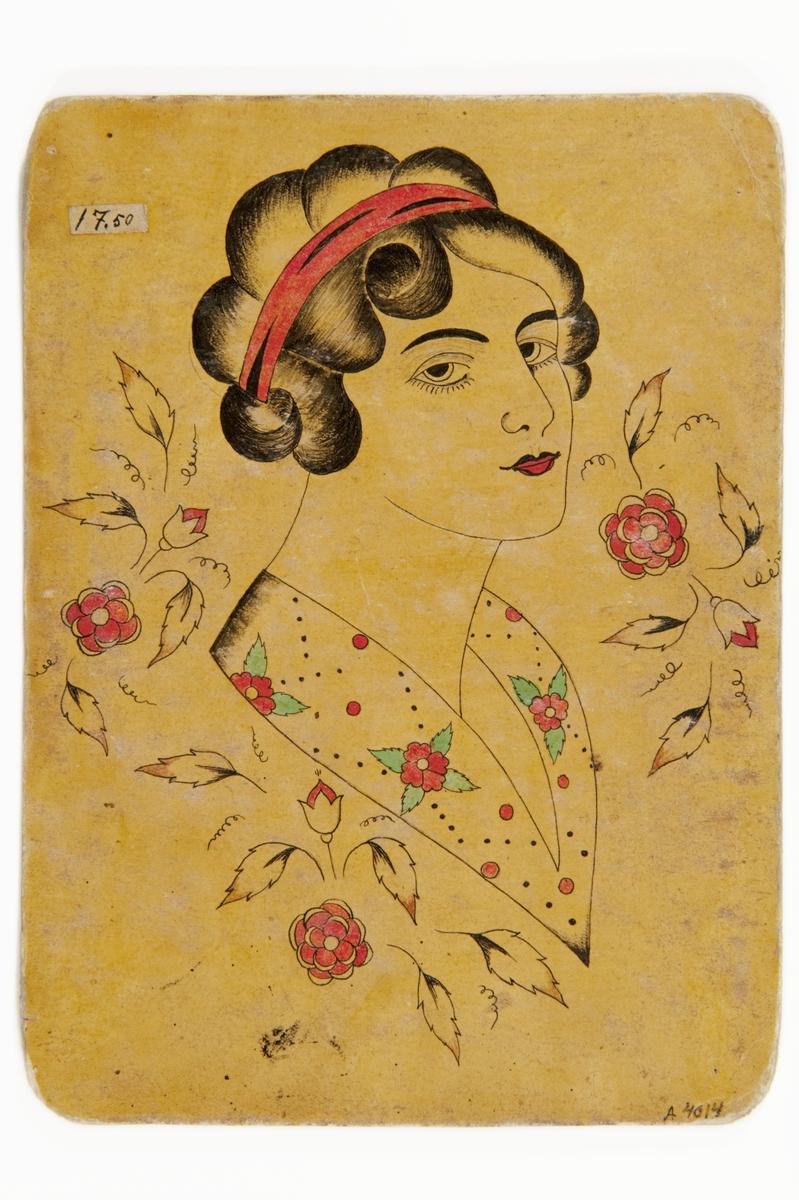 Tatueringsförlaga. Porträtt av kvinna med rött hårband och blommig sjal eller krage, omgivet av röda blommor.
