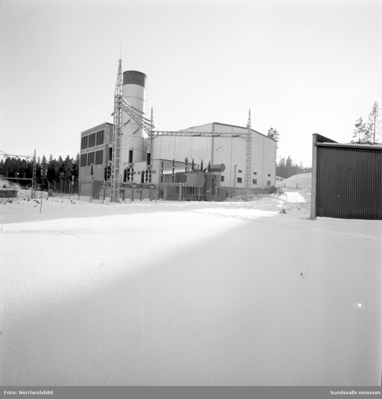 Nyhamns oljekraftverk exteriör och kartor. Stal Laval Turbin AB.
