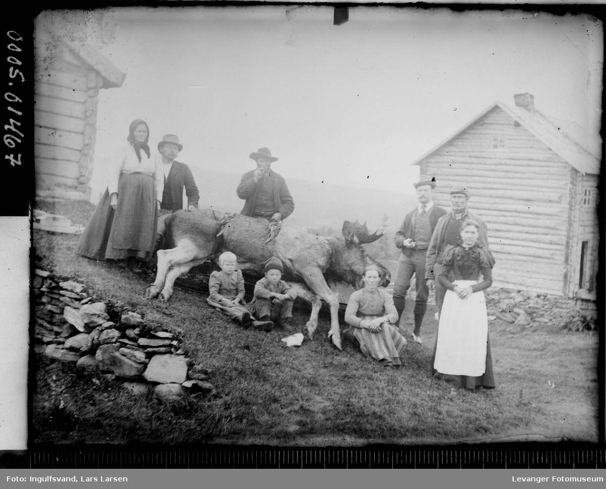 Gruppebilde av fire menn, tre kvinner og to barn rundt en felt elg.