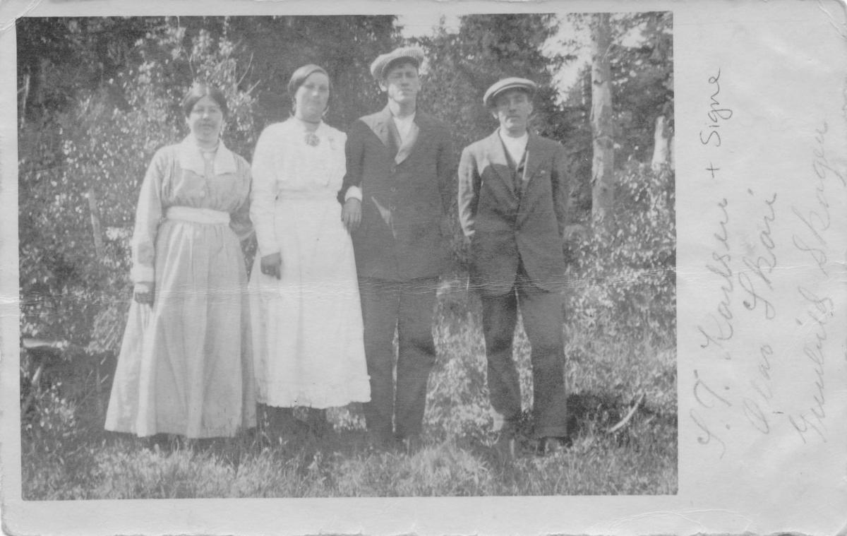 Signe og Teodor Karlsen, Olav Skare og Gunhild Skogen, arbeidarar Åmdals Verk, 1919-1920
