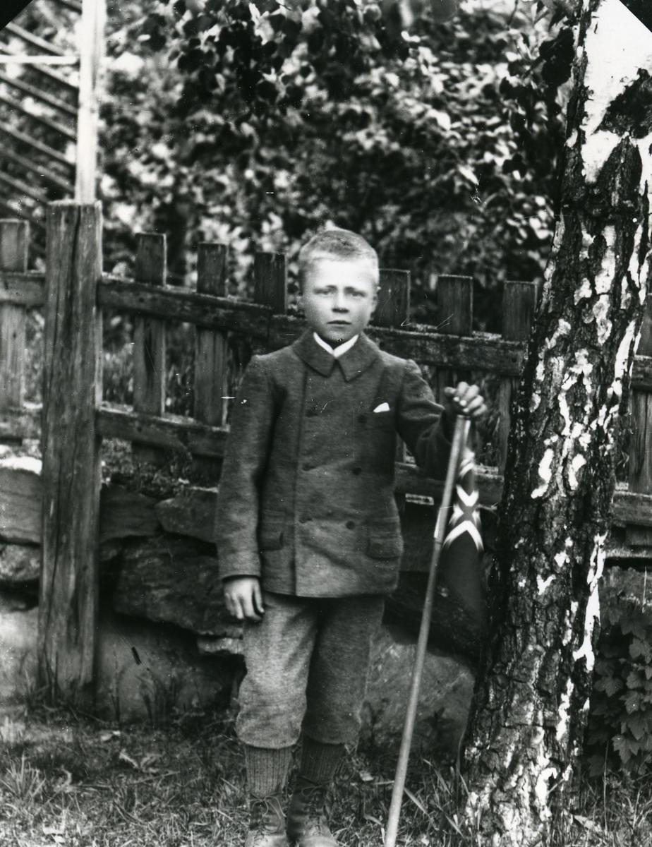 Gutt med norsk flagg, ved bjørkestamme foran gjerde
