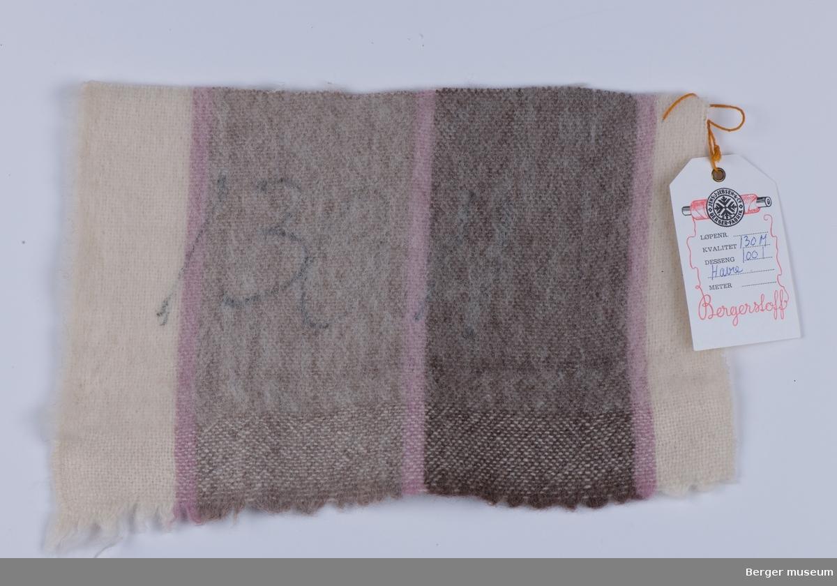 Brun, beige og off-white striper med smale rosa streker i mellom.