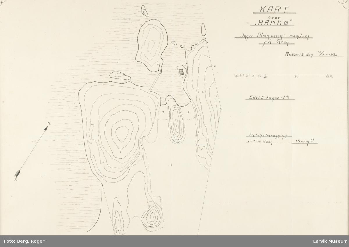 """kart over """"HANKØ"""". Inger Aloiniussen's eiendom på Goen i Larvik"""