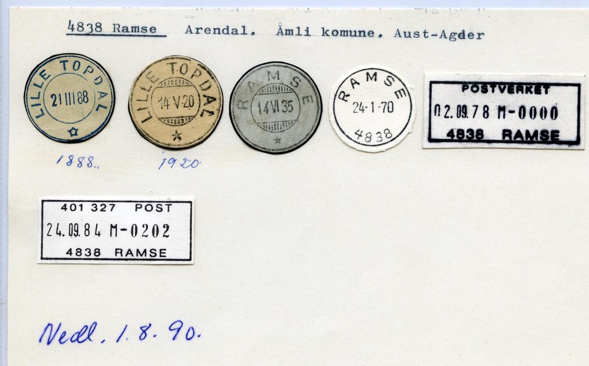 Stempelkatalog 4838 Ramse, Arendal, Åmli, Aust-Agder