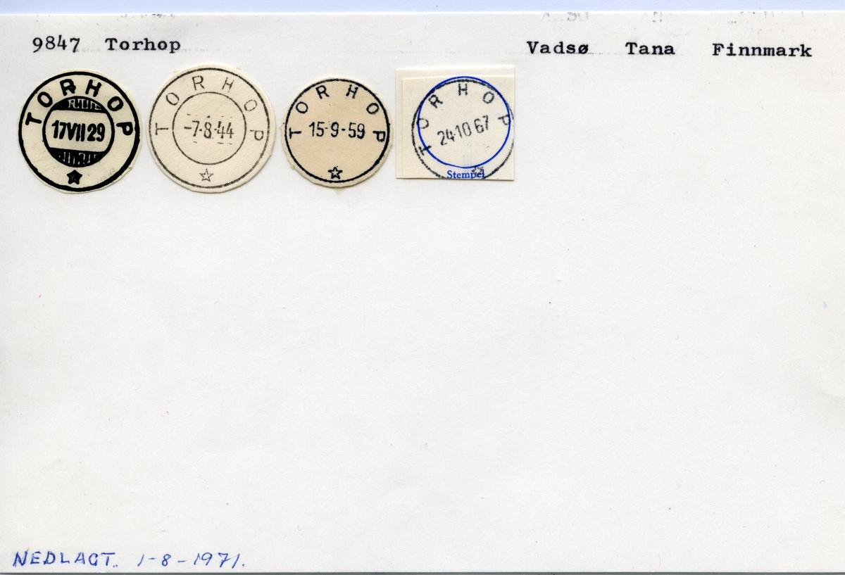 Stempelkatalog 9847 Torhop, Vadsø, Tana, Finnmark