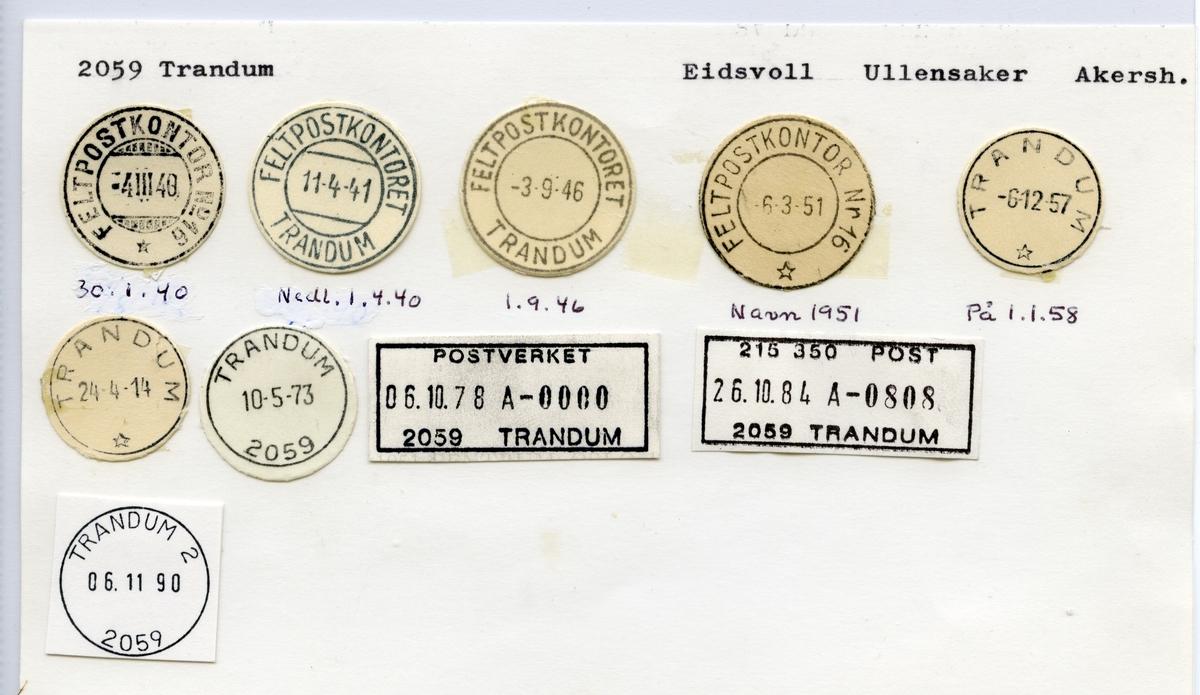 Stempelkatalog 2059 Trandum (Feltpostkontor no 49, Feltpostkontor nr 16), Eidsvoll, Ullensaker, Akershus