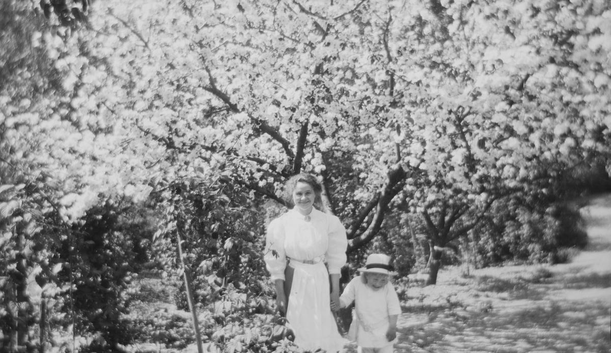 En smilende kvinne og en leende Iacob Ihlen Mathiesen står foran blomstrende frukttrær.