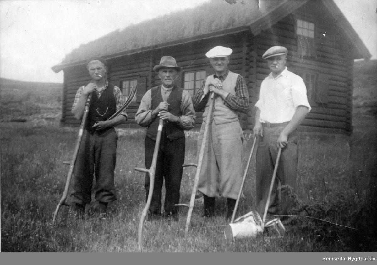Steinstølen var ei slåtte som høyrde til Langehaug,54.8, i Hemsedal. Slåtta vart seld. Frå venstre: Ola O. Lenghaug, fødd 1911; Ola K. Langehaug (1869-1958); Svein O. Langehaug, fødd 1901 og Olaf O. Langehaug, fødd 1906.