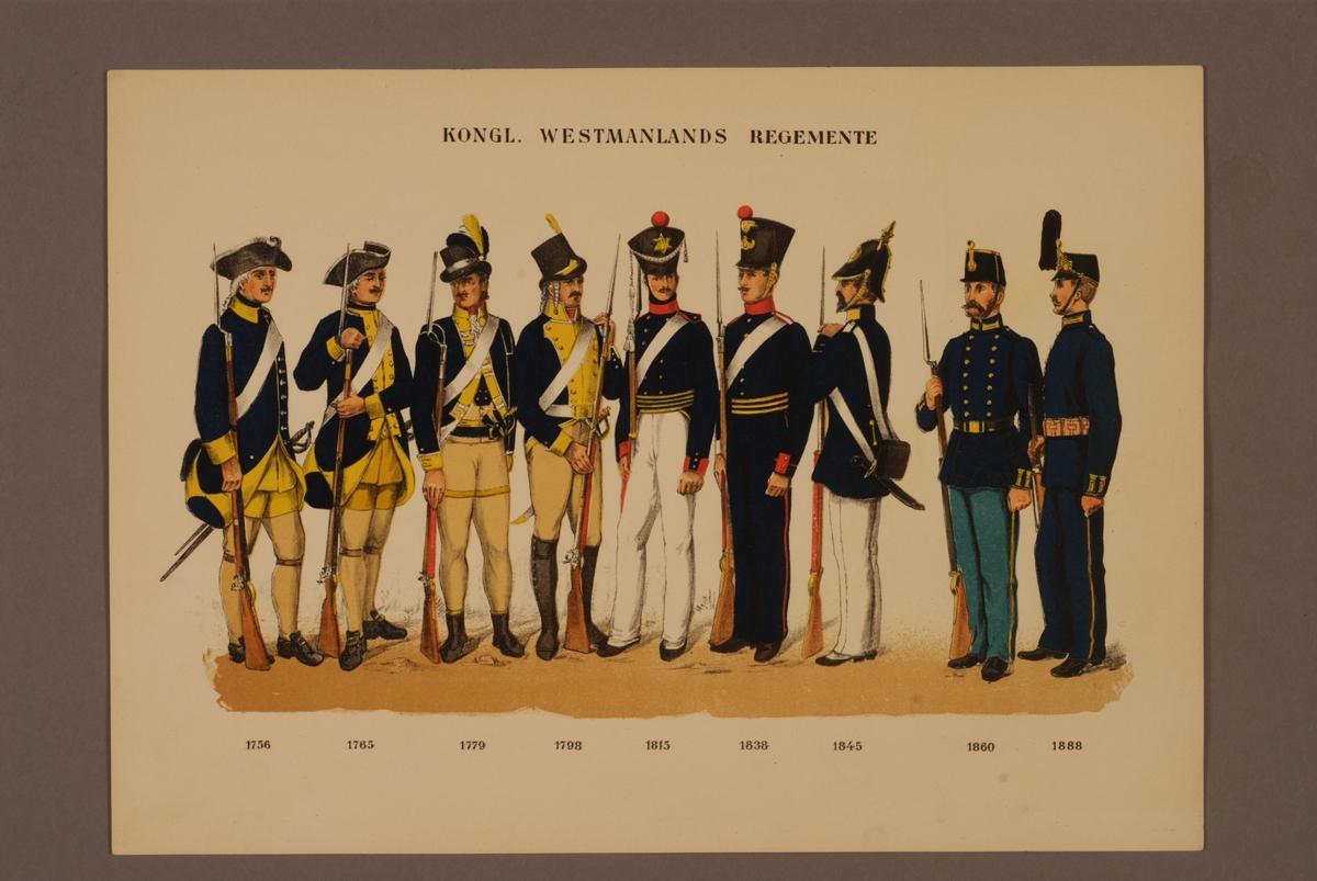 Plansch i färgtryck med uniform för Västmanlands regemente för åren 1756-1888. Ingår i planschsamlingen Svenska krigsmaktens fordna och nuvarande munderingar utgiven av P.B Eklund 1900-1905.