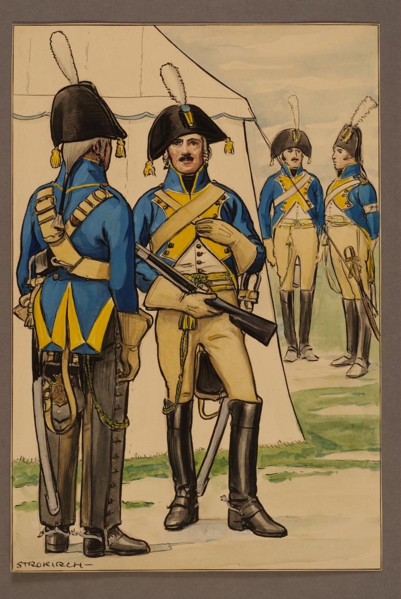 Plansch med uniform för dragoner, underofficer och officer vid Västgöta linjedragonregemente 1794, ritad av Einar von Strokirch.
