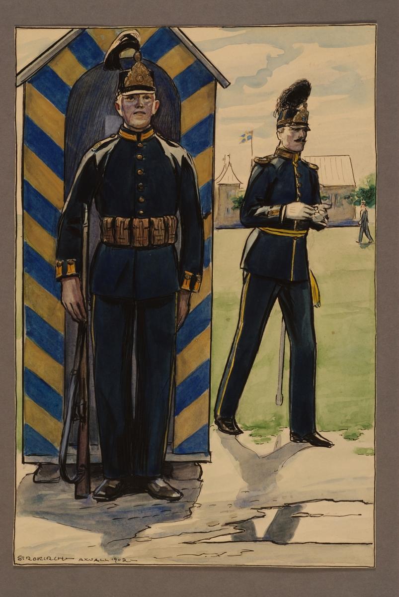 Plansch med uniform för soldat och officer vid Västgöta regemente 1900, ritad av Einar von Strokirch.