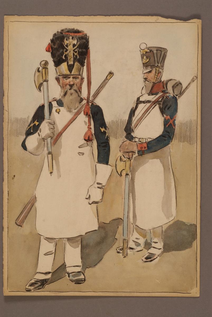 Plansch med uniform för timmerman, tidigare och senare uniform, ritad av Einar von Strokirch.
