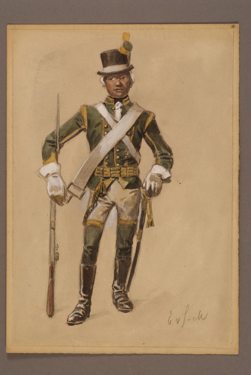 Plansch med uniform för lätt dragon vid Bohusläns dragoner, ritad av Einar von Strokirch.
