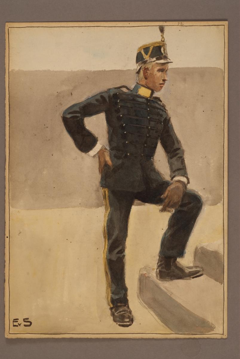 Plansch med uniform för Karlsborgs artilleriregemente, ritad av Einar von Strokirch.