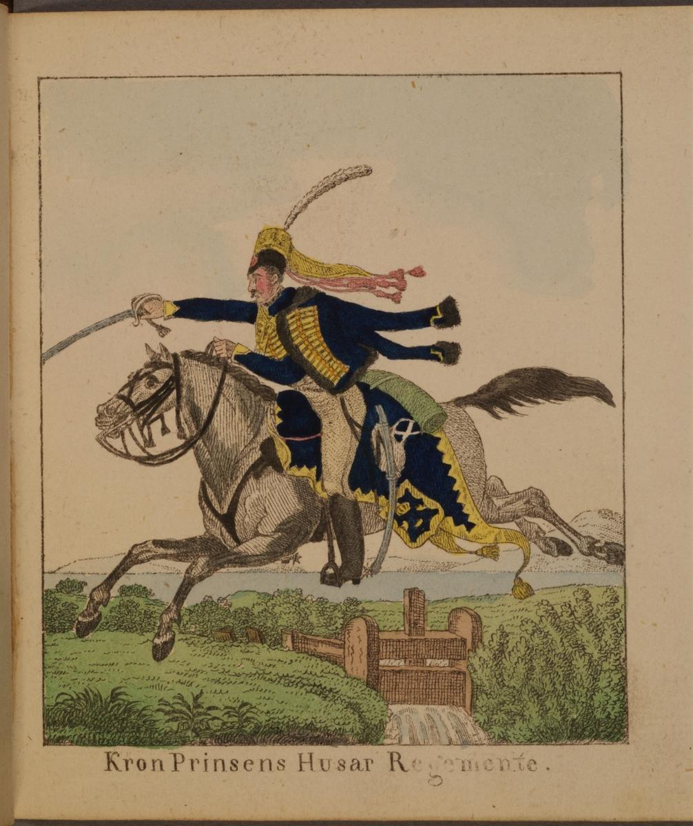 Miniatyrteckning med uniform för Kronprinsens husarregemente. Färgtryck i boken Miniatur-teckningar af åtskilliga swenska militair-uniformer, utgiven av Carl Theodor Löwstädt på 1820-talet.