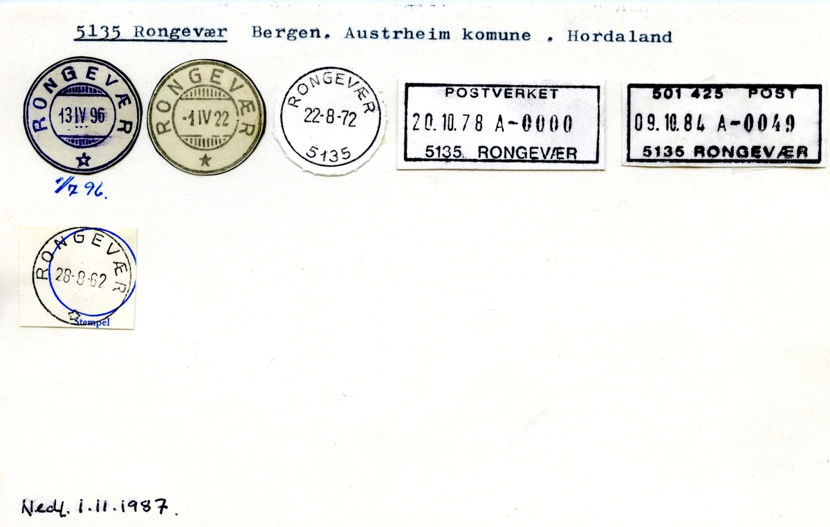 Stempelkatalog 5135 Rongevær, Austrheim, Hordaland
