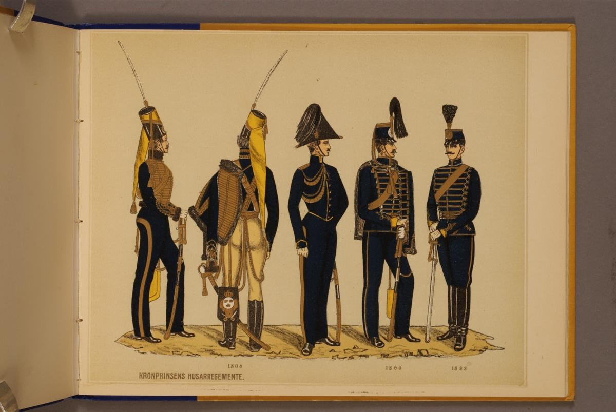 Plansch i färgtryck med uniform för Kronprinsens  husarregemente för åren 1806-1888. Ingår i planschsamlingen Svenska arméns och flottans officersmunderingar utgiven av P.B Eklund.
