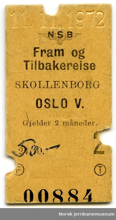 Tur/returbillett Skollenborg-Oslo V, 2. kl.