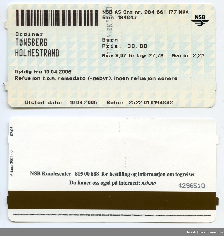 Billett Tønsberg-Holmestrand, barn