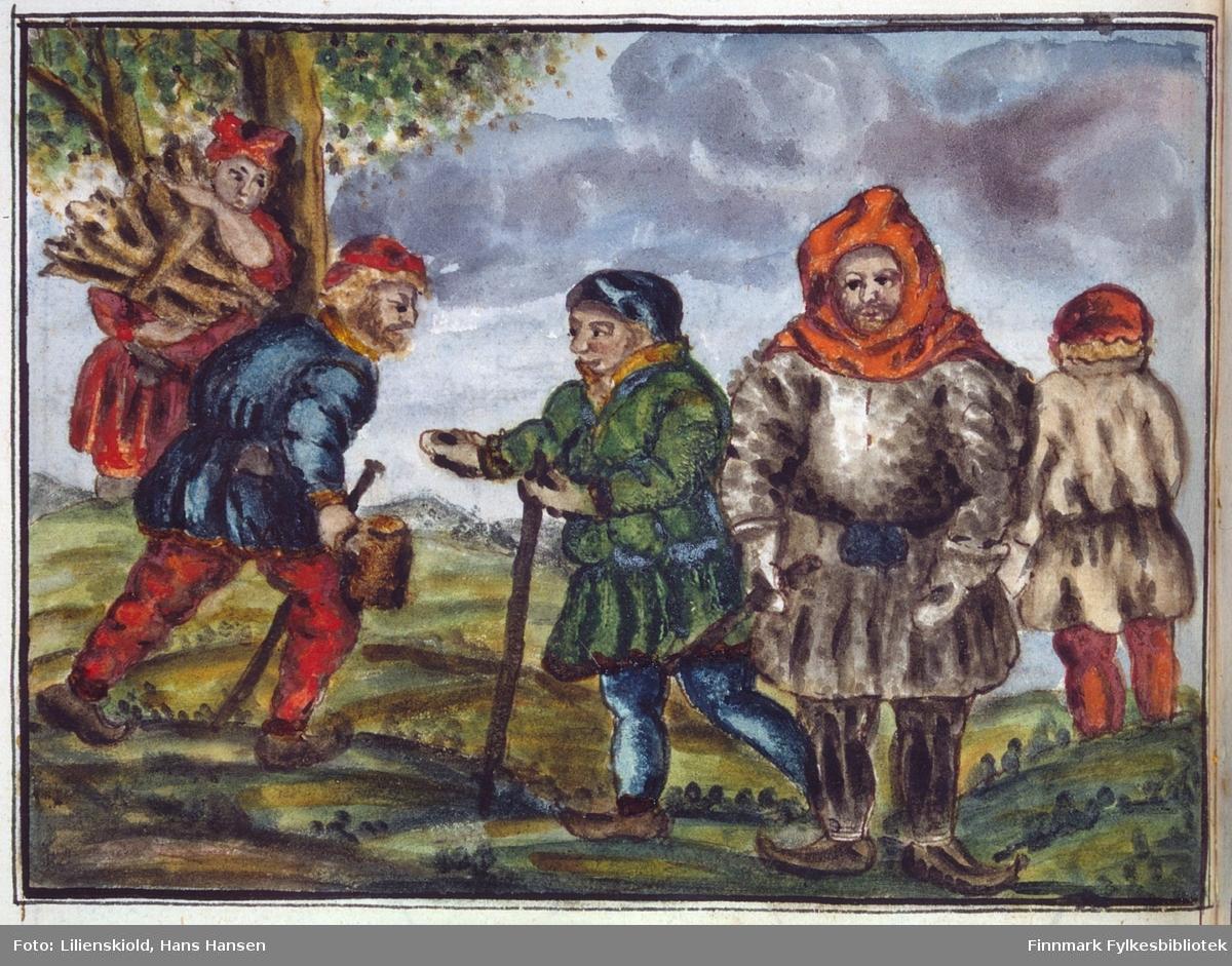 Samiske mannsdrakter fra Finnmark. Mennene til venstre har sommerdrakter. De to mennene til høyre er kledd i samiske vinterklær: Pesk, skinnbukser og kommager. Hodeplagget er det Lilienskiold kaller fjellhette. Helt til venstre en kvinne som sanker ved