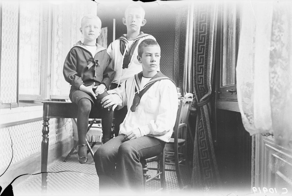 Drottning Victorias bilder. Prins Erik (5 år), prins Villhelm och prins Gustav (VI) Adolf.