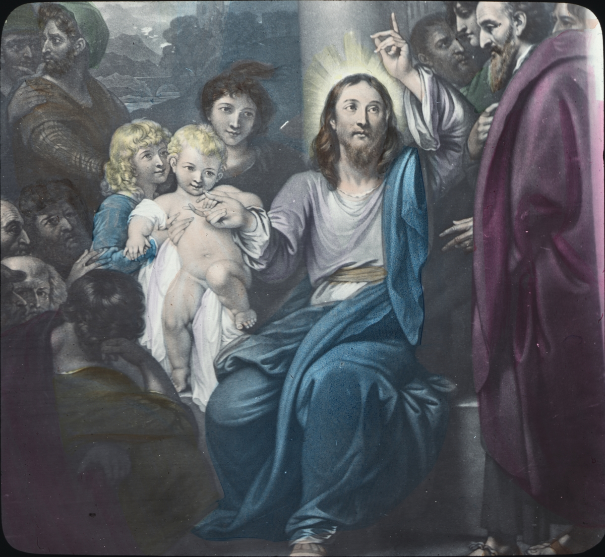 Kolorerad skioptikonbild med religiöst motiv. Jesus välsignar barnet.