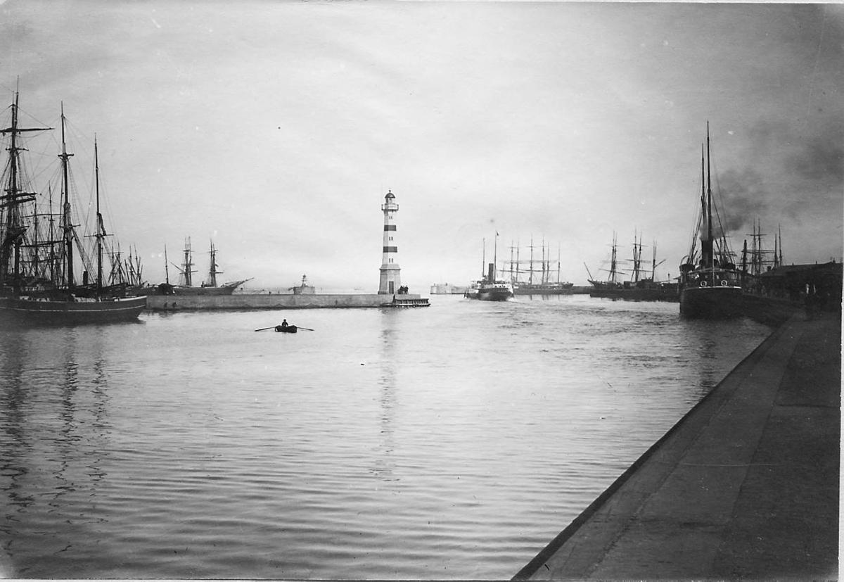 Malmö yttre hamn 1906. Bild från tidskriften Hemmets bildmaterial.