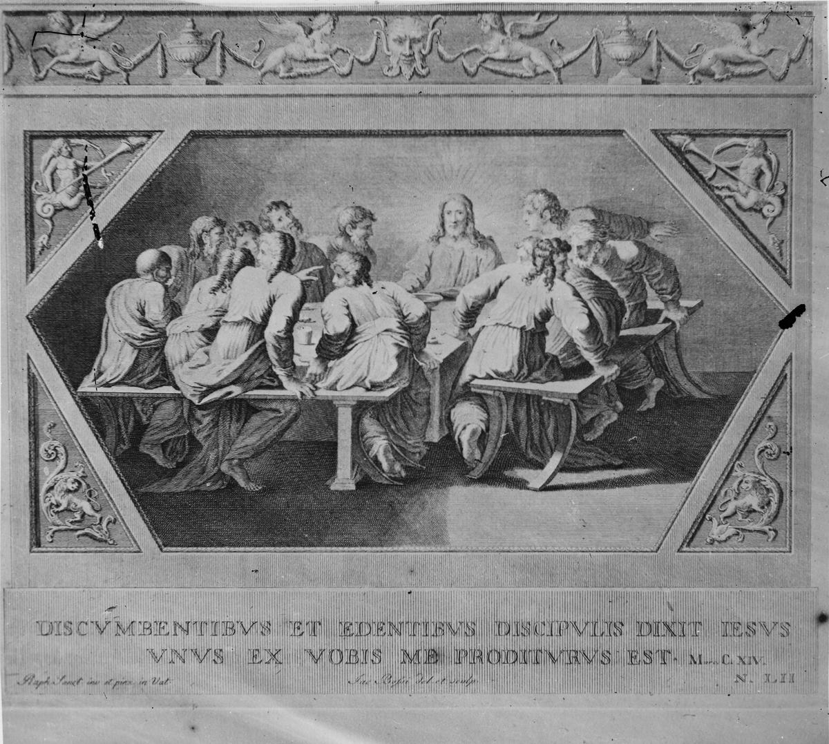 Skioptikonbild. Tryck på latin. Bilden föreställer Jesus och hans lärjungar.