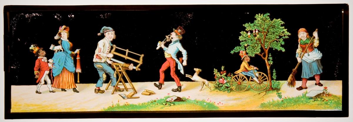 Målad bild på glas för Skioptikon/Laterna magica. Skämtbilder för barn.