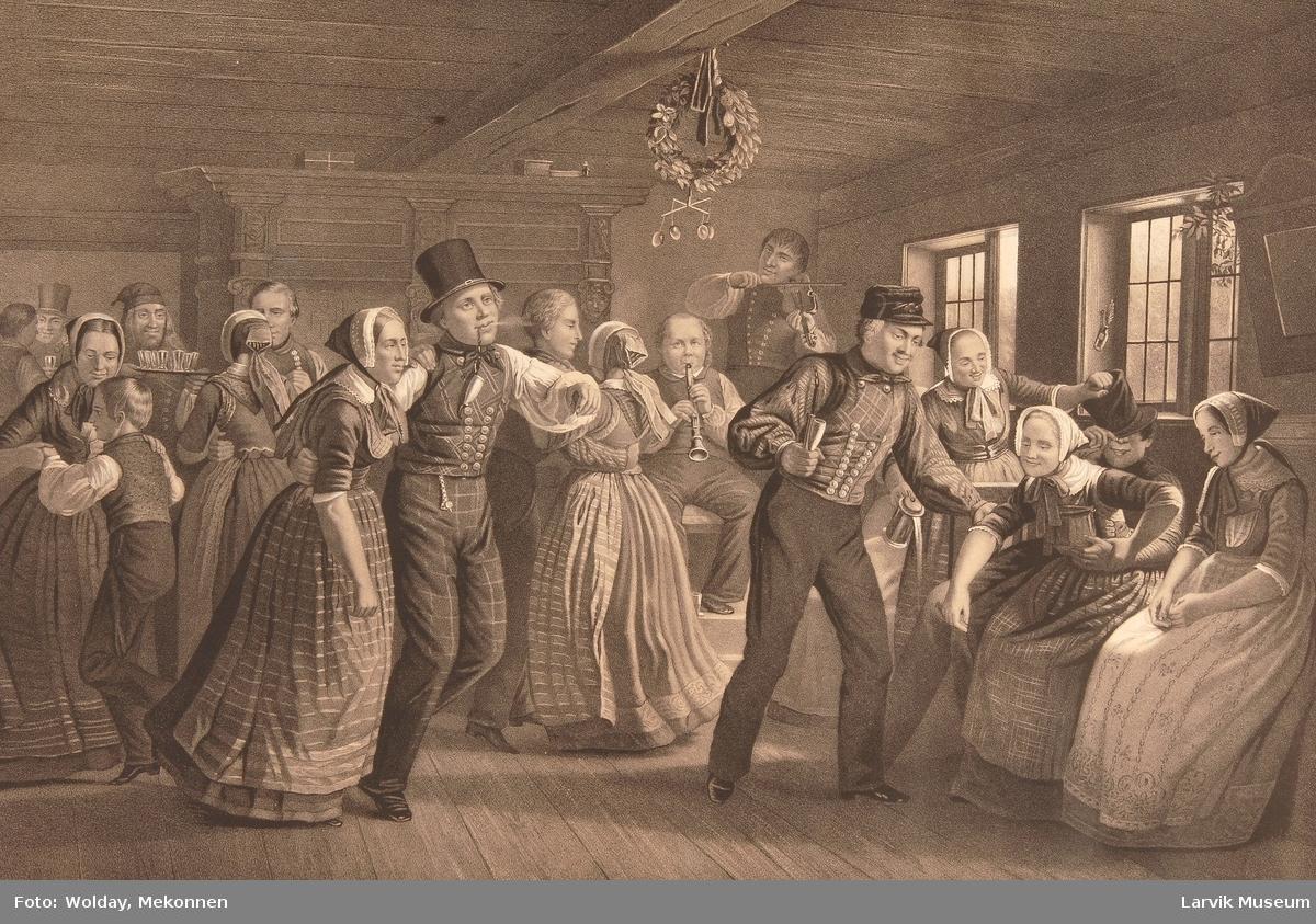 Et gilde i Hedeboegnen. Original Maleriet av J.Exner. Tilhører det Kgl. Billedgalleri paa Christiansborg Slot.