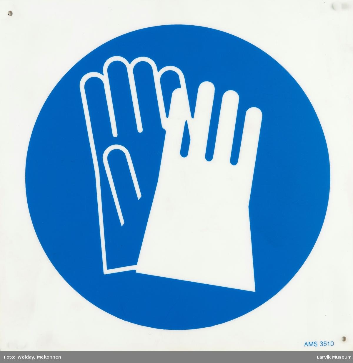 Symbol: Påbudt med vernehansker/Bruk vernehansker