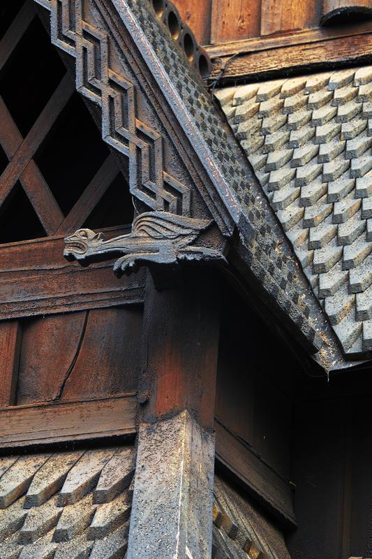 Detalj av Stavkirken fra Gol