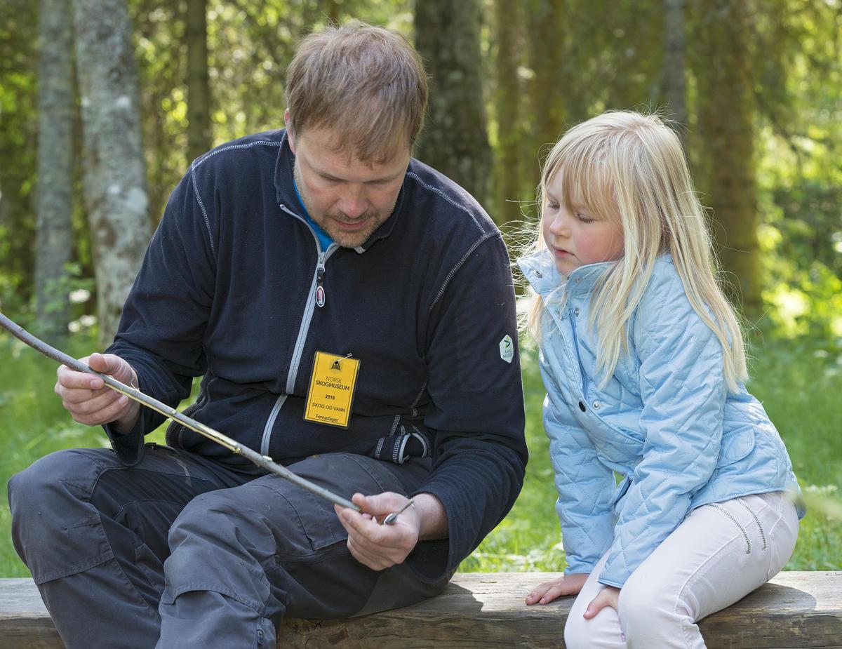 Stein Tore Andersen viser ei jente hvordan man spikker ei pil under Skog og Vann på Norsk Skogmuseum 9/6 2016 (Foto/Photo)