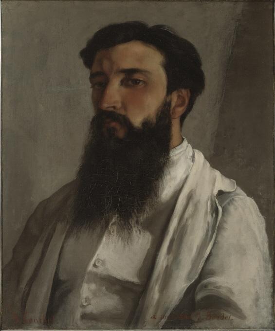 """Jules Bordet var en konstsamlare från Dijon. Han framträder här i vit skjorta och ljus linnekavaj mot en neutral bakgrund. Det mörka skägget, skuggorna och den kraftfullt pålagda färgen ger porträttet dess karaktär. Medan Courbet ofta framställde kvinnor tankfullt drömmande framför lummiga landskap, präglas hans mansporträtt av stränghet och allvar – männen är säkra på sin sak och sin plats i världen. Bordet ägde flera verk av Courbet. Förhållandet mellan konstnären och modellen framgår också av en dedikation på målningen """"Till min vän J. Bordet""""."""