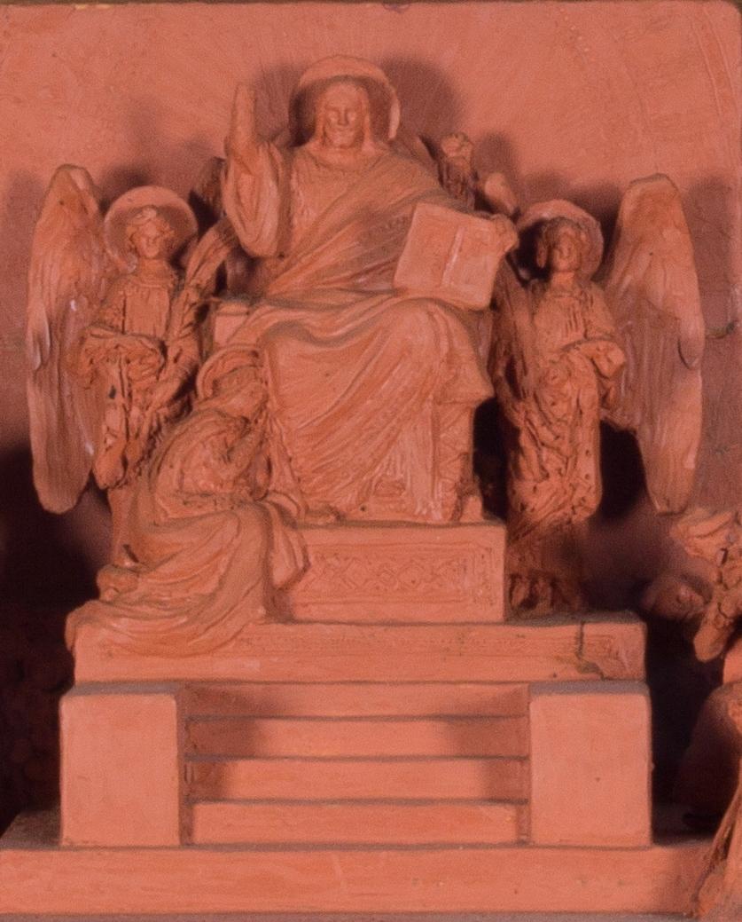Jesus sittande i centrum på en upphöjd tron med höjd vänsterarm, Majestas Domini. Upp till tronen leder en trappa. I den högra handen håller han en bok. På var sida om honom en ängel och vid hans fötter en sittande kvinna. Till vänster om tronen stående figurer med glorior. Till höger delvis stående, delvis knäböjande figurer, totalt 23 figurer.