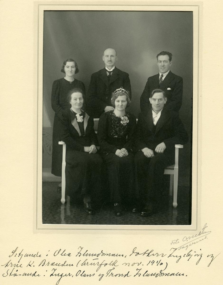 Brudefoto av Arne og Ingebjørg Brenden, november 1940.
