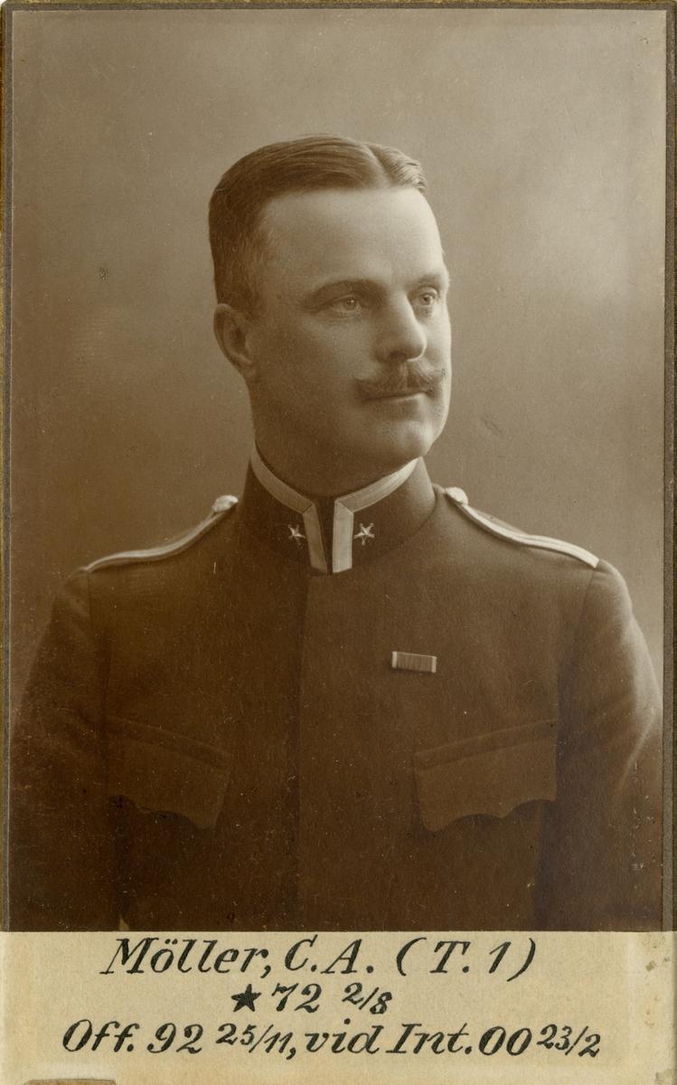 Porträtt av Carl Anders Möller, major vid Svea trängbataljon T 1 och Intendenturkåren.