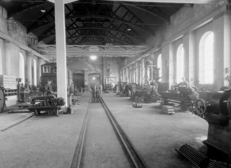 Jernbaneverkstedet på Thamshavn i 1931. Fotograf ukjent.