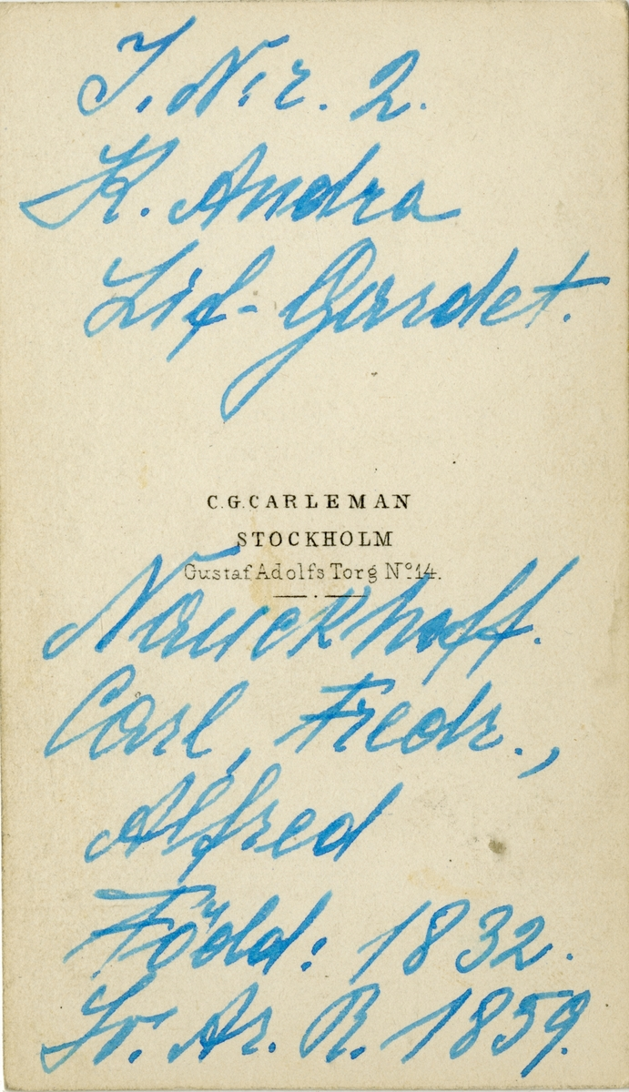 Porträtt av Carl Fredrik Alfred Nauckhoff, löjtnant vid Andra livgardet I 2. Se även AMA.0008127.
