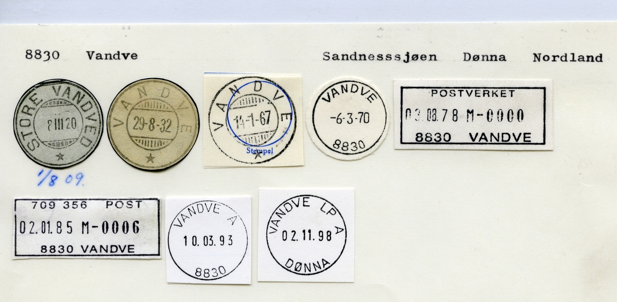 Stempelkatalog 8830 Vandne (Store Vandved), Sandnessjøen, Dønne, Nordland
