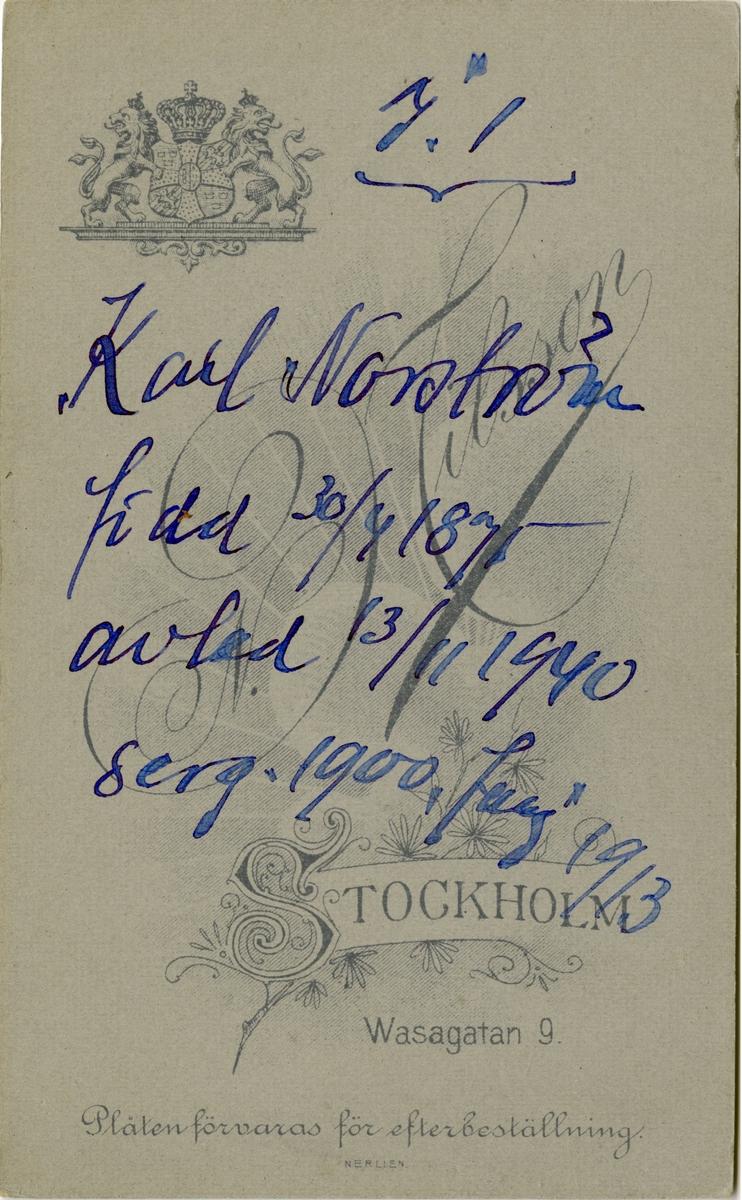 Porträtt av Karl Norström, sergeant vid Svea livgarde I 1.