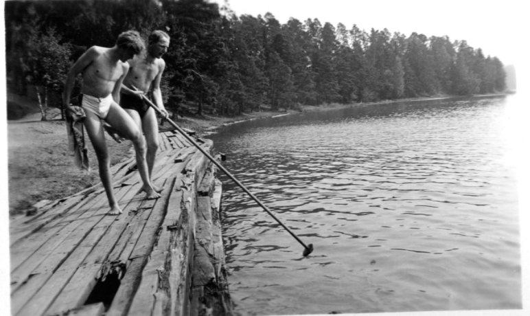 Hörningsholm, förläggningen med badkajen. Studentbatt. A 1.