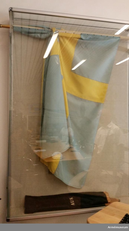 Fana, AUS/AKS. 1938. Bredd 1380. Höjd 930. Längd fanstången 2660 mm, diameter 35 mm. Lagad 1973/1977/. Färgerna är ljusa i fanan som är enkelt påspikad på stången. Det är en vanlig svensk fana utan emblem.
