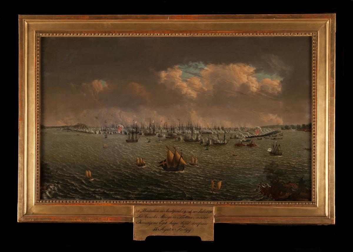 """""""Bataillen vid Svensksund den 9 och 10 juli 1790, då Svenska Skärgårdsflottan under Konungens eget befäl eröfrade 55 ryska fartyg."""""""