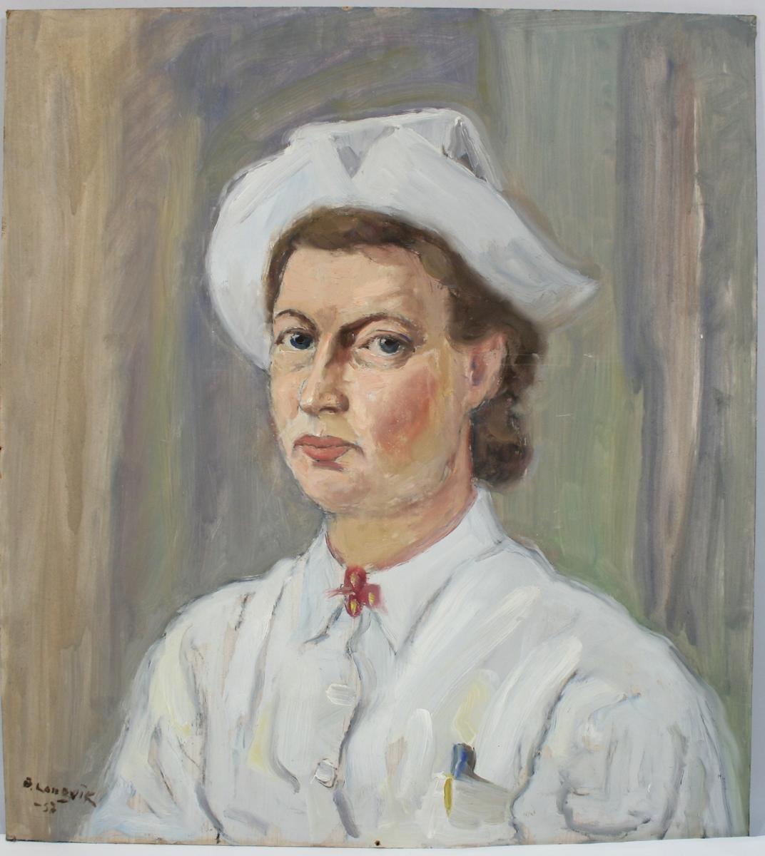 Maleri av ukjent kvinne, malt på finerplate